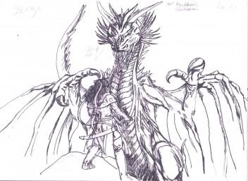Corinna och draken skiss