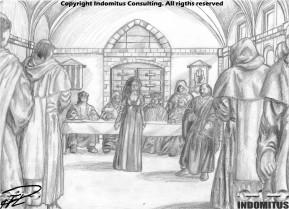 Kati inför inkvisitionen - Grundteckning