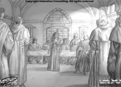Kati inför inkvisitionen med ljuseffekter