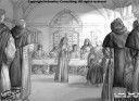 Kati inför inkvisitionen med ljuseffekter och Mörker
