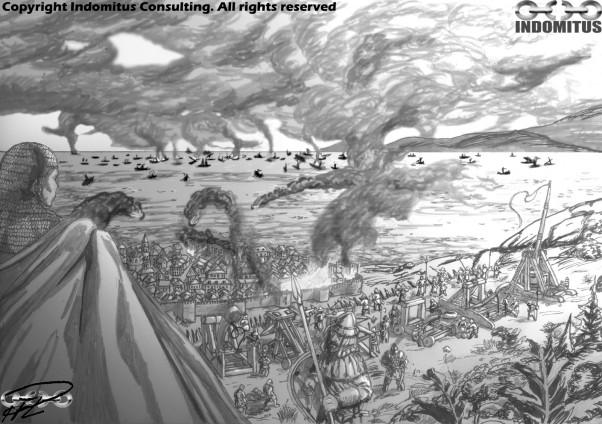 Yakane ser ut över belägringen och Sjöslaget om Arbine