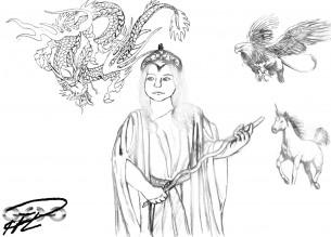 Prinsessa, Drake, Grip & Enhörning Skiss