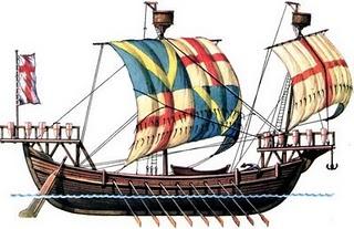 Galär med åror & segel medelhavet