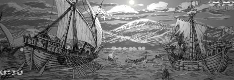 I natten närmar sig Atreminarnas flotta Huvudlägret