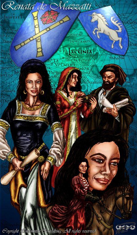 Renata poster tusch italiensk medeltid color fr Ava Fabian