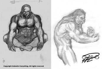 2 skisser Yakanes kropp