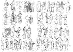 Tidiga studier av medeltida klädedräkter från urkunder