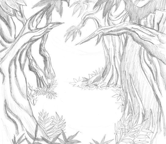 En liten skogsdunge som bakgrund