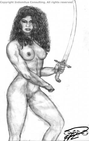 Kati, tidig nakenstudie med svärd 1992