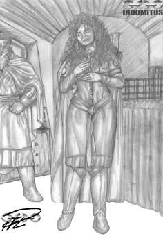 Corinna drar på sig reskläder - Monterad Skiss