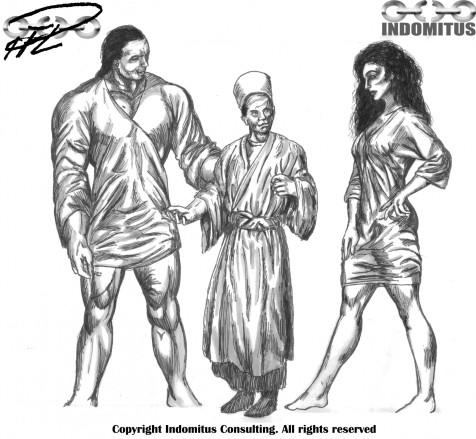 Yakane och Corinna, studie längdskillnad mellan dem och en Fellahin (egyptisk bonde)