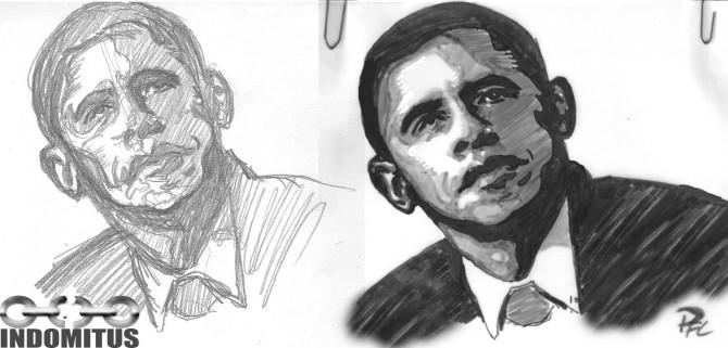 Barack Obama, teckning för omslag Utblick - skiss+tusch