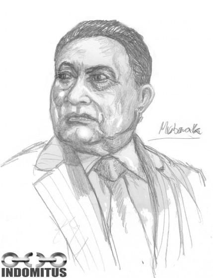 Hosni Mubarak blyertsskiss