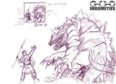 Råskiss och koncept för Pojken och den stora dinosauriedraken