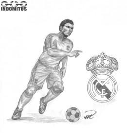 Ahmeds Bild - Christiano Ronaldo dribblar i Real Madrids färger