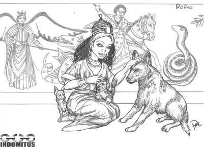 Prinsessa från nordöstafrika m varg, kattunge & chihuaha framför målade änglar & krigare som slåss mod drakar & ormar