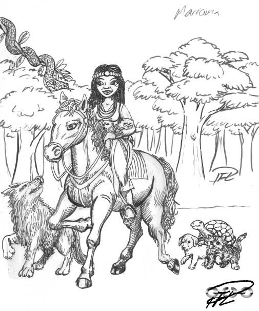 Ridande tjej med kattungar, valp, sköldpadda, varg, orm, chihuahua och iller...