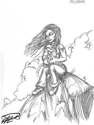 Milena, lite mangaaktigt ritad med en fin iller