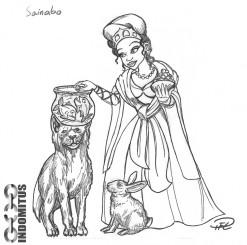 Prinsessa med hund, kanin och pirayor i en rund skål...