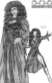 Corinna i medeltidsklänning, skiss 1994