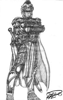 Skiss av The Kurgans rustning Highlander