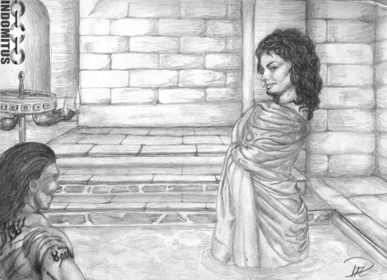 Zoe kliver ner till Yakane i bad