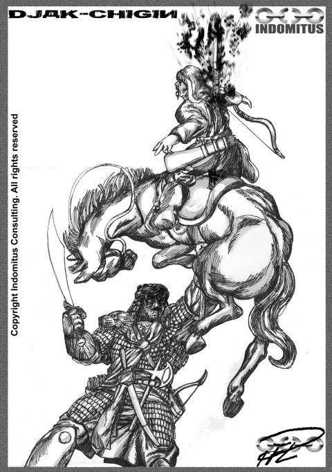 Djaq-chigin spetsar mongol t häst m mask