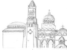 koncept för ny påtäntk Heliga Gravens kyrka i Jerusalem 1100-talet