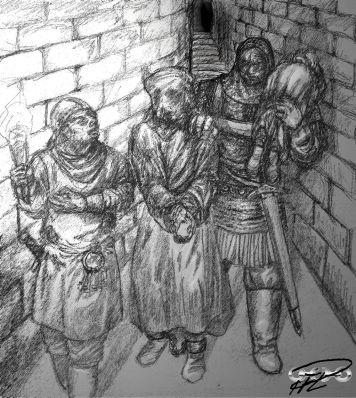 Yakane släpar predikanten Phileotes ner i prefektens fängelsehålor
