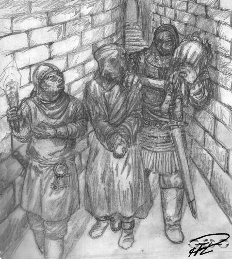 Skiss Yakane släpar Symeon till prefektens fängelsehålor