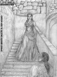 Zoe går ner för trappan för att hälsa Yakane