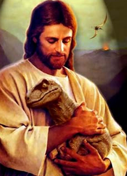 paulusindomitus.files.wordpress.com/2011/11/jesus-helping-a-baby-dinosaur.jpg