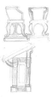 Bysantinsk stol och skrivpulpet - konceptskisser