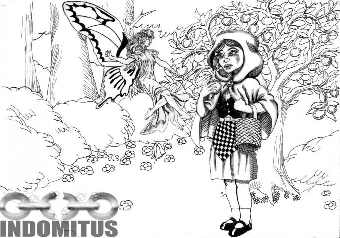 Tusch rödluvan & älva och magiska trädet