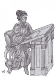 Zoe sitter vid sin pulpet i palla, mantion & läderskor
