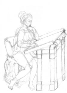Zoe figurskiss vid pulpet