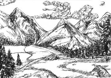 tuschteckning landskap till pojken och draken