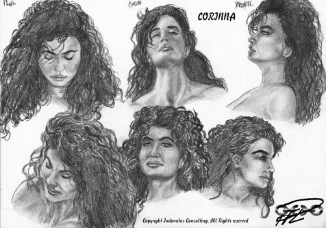 Corinna ansiktsstudier i profil, grod-och fågelperspektiv