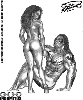 Kati stående och Sittande Yakane nakna