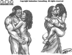Kati & Yakane, stående kyssar och upplyft omfamning