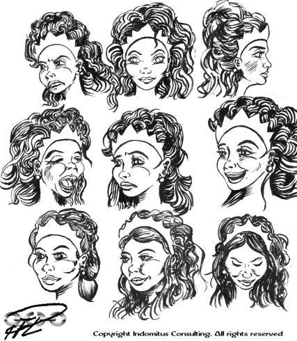 Prinsessan Julia studier av miner och ansiktsdrag