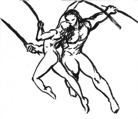kladdutkast för krigsdans m svärd