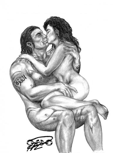 Kati & Yakane sittande kyss