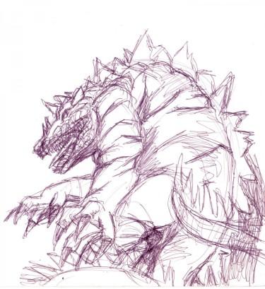 Skiss Krokodildrake