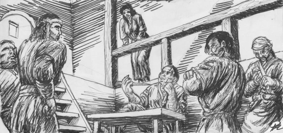 jack inför den knivviftande Bouros och hans män