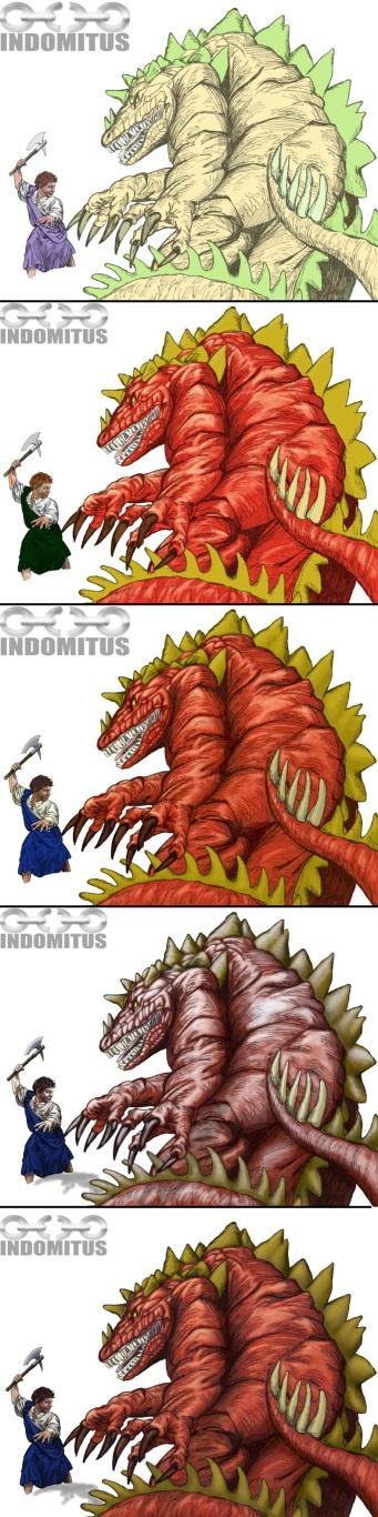Steg-för-steg färglager för Jake the Dragonslayer