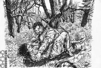 First Kill - Corinna spetsar rövare i skog, tusch & marker