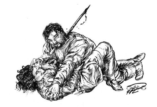 Tuschteckning Corinna First Kill