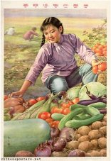 Chinese Politicial Poster 1959-The-vegetables-are-green