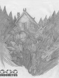 Baba Yagas stuga med hönsfötter i mörk skog